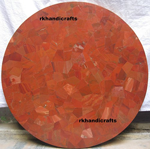 (Coffee Table Top For Home Furniture Item 24'' Diameter Red Jasper Marble Inlay Mosaic Art)