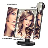 Makeup Vanity Mirror Black with 21 LED Lights, 3X/2X Magnification Led Makeup Mirror with Touch Screen, Dual Power Supply,180° Adjustable Rotation, Countertop Vanity Mirror