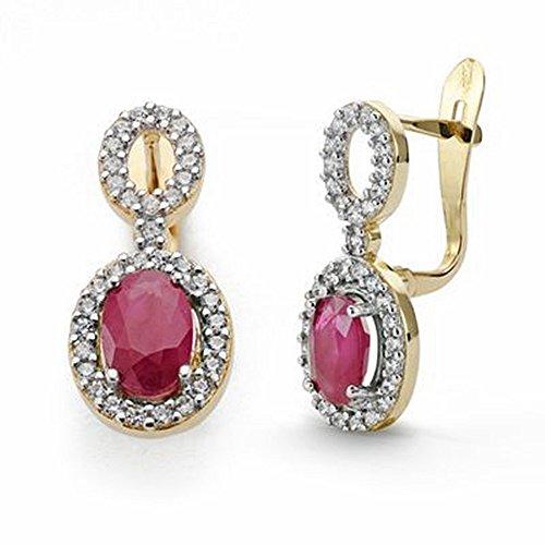 Boucled'oreille 18k rubis et zircons or 18mm de long. [AA2062]