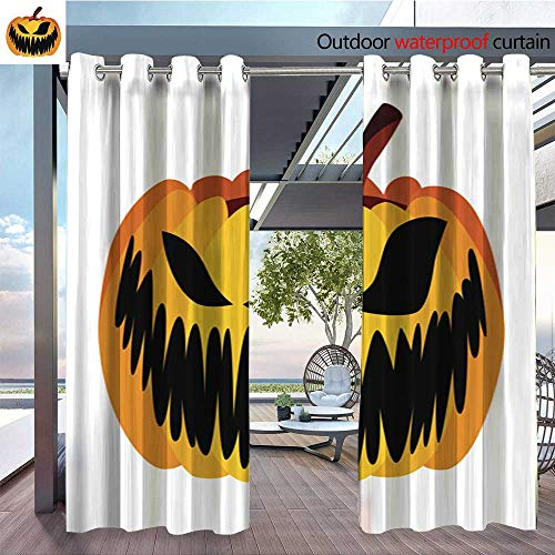 QianHe Outdoor CurtainIsolated-Vector-Yellow-Orange-Festive-Scary-Halloween-Pumpkin1.jpg Room Darkening Waterproof Curtain for Indoors and Outdoor W96 x L84(245cm x 214cm)