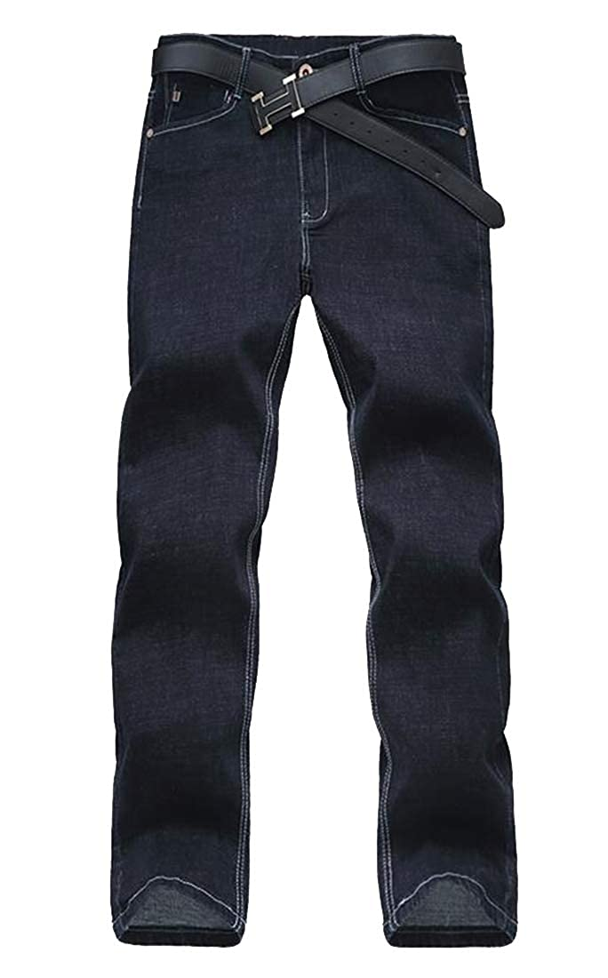 Heless Men Casual Mid Waisted Straight Leg Loose Plus Size Jeans Denim Pants