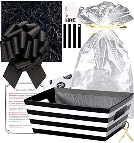 Gift Basket Making Kit Do It Yourself DIY Build Your Own Gift Basket Matching Supplies Market Tray Basket Cellophane Bag Shredded Crinkle Paper Ribbon Pull Bow (Black and White Stripe, X-Large)