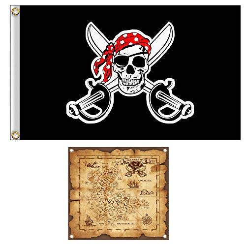 Shmbada Skull Pirate Flag Jolly Roger with Treasure Map Set for Pirate Party, Double Stitched Polyester Bandana Pirate Banner with Brass Grommets for Kids Birthday, 3x5 Ft, 2 Pack