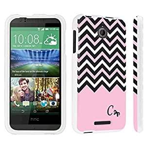 DuroCase ? HTC Desire 510 Hard Case White - (Black Pink White Chevron C)