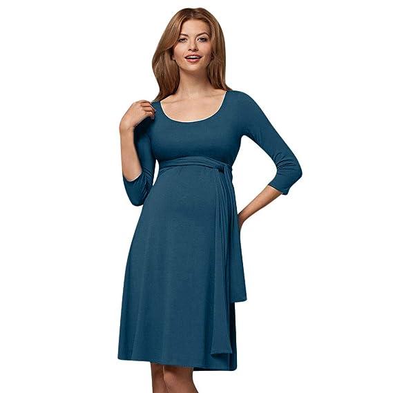 Ropa Premamá, Zolimx Vestidos de Fiesta Mujer Premamá Camisón Lactancia de Noche Camisa Franca de