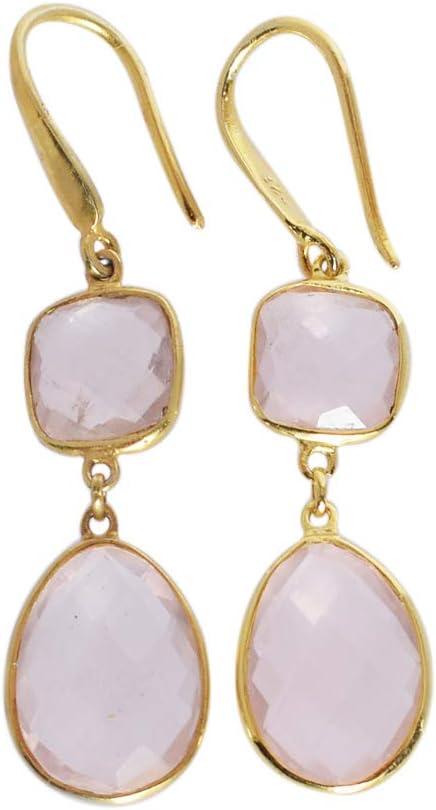 FSJ-4556 - Pendientes de cuarzo rosa natural con corte facetado, joyería chapada en oro, plata de ley, pendientes de mujer, joyería bohemia hecha a mano