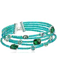 Napier Women's Green Abalone and Beaded Coil Cuff Bracelet