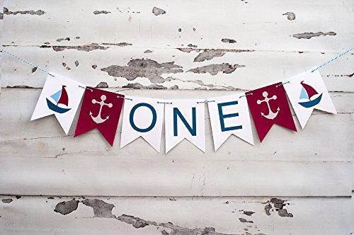First Birthday Decoration, Nautical 1st Birthday Highchair Banner, Anchor Decor]()