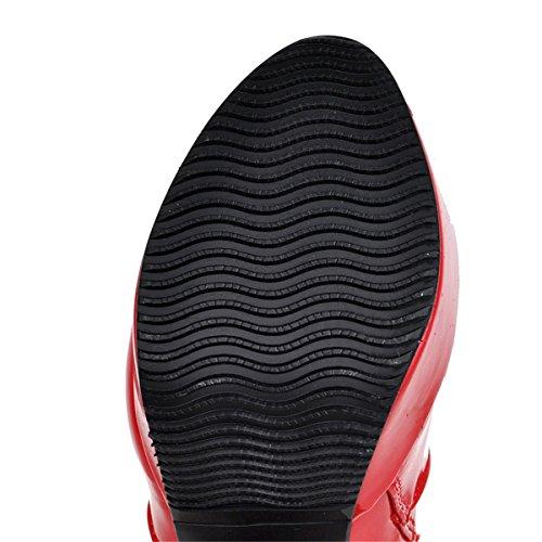YE Damen High Heels Blockabsatz Plateau Lack Stiefeletten mit Schnallen Reißverschluss Bequeme Elegant 12cm Absatz Herbst Winter Schuhe Rot