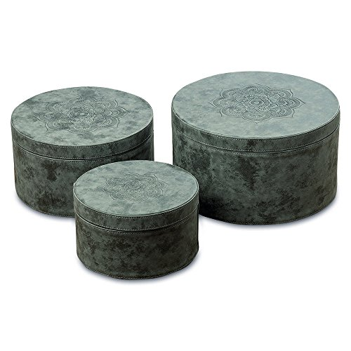 The Mandala Circular Nesting Boxes, Set of 3, Tooled Floral Details, Lush Gray Faux Suede, Lift Off Lids, Lined, Stitched, Various Sizes from Over 1 Ft and Smaller, By Whole House Worlds