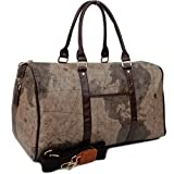 Copi World Map Large Duffle Bag Travel Tote Luggage Boston Style Chocolate-Brown
