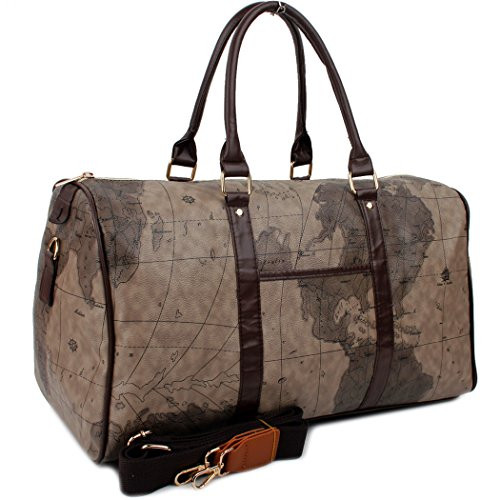 Copi World Map Large Duffle Bag Travel Tote Luggage Boston Style Chocolate-Brown -