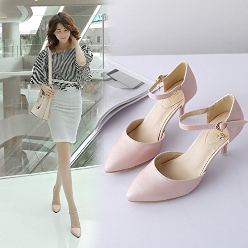 SHOESHAOGE Sandales Femme Rose Avec Un Mot D'Une Fine Boucle Talon Stiletto Shoes Chaussures De Travail Couleur unie 9HQmV38B