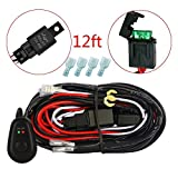 MICTUNING 12ft Wiring Harness Kit for Off Road LED Work Light Bar - Power Relay Blade Fuse ON/OFF Switch