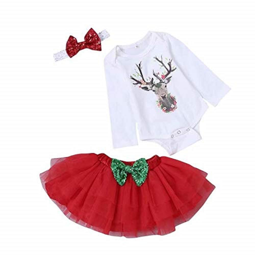 SUPEYA Baby Girl Christmas Deer Print Rompers Tulle Dress Bow Headband Outfit HY327R-70