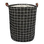 Folding Laundry Basket Hamper for Bedroom Bathroom Kids Linen Cotton Black and Plaid 15.7 x15.7 x19.7