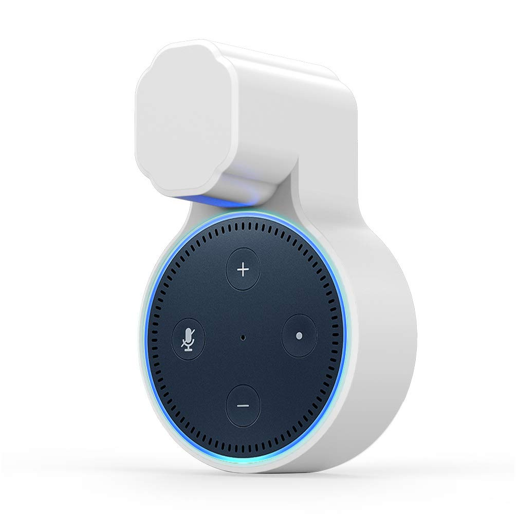 RUNCHENG Wall Mount Case Holder Stand for Echo Dot 2nd Generation Alexa, Installation Without Screws, Plug and Play - White