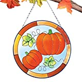 Collections Etc Glass Pumpkin Hanging Suncatcher
