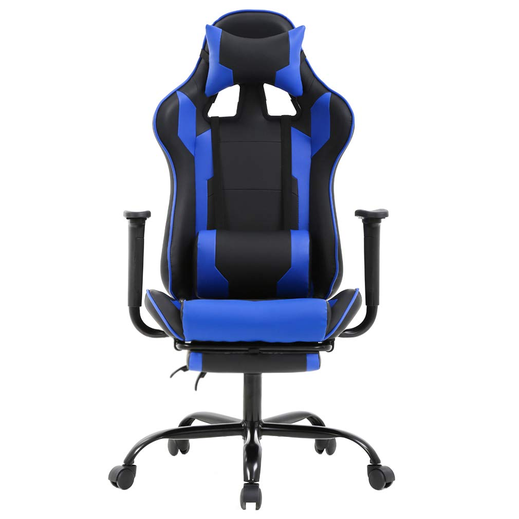 High-Back PU Leather Racing Gaming Chair, Desk Computer Ergonomic Executive Swivel Rolling Home Office Chair with Lumbar Support Adjustable Headrest for Women, Men(Blue)