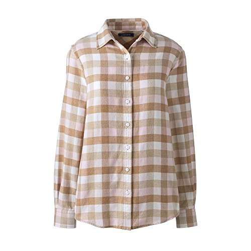 Lands' End Women's Flannel Shirt, 12, Washed Pink Plaid
