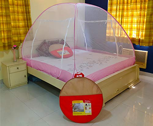 Athenacreations Mosquito Net Foldable King Size,Queen Size Double Bed (Pink)