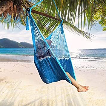 JOO LIFE Large Caribbean Hammock Hanging Chair -Swing Chair with Wood Bar – Large Hammock Net Chair -Soft Spun Polyester for Indoor Outdoor Porch and Gardern Living Room Blue-Caribbean
