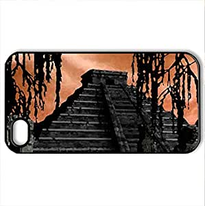 Aztec Pyramid - Case Cover for iPhone 4 and 4s (Ancient Series, Watercolor style, Black)