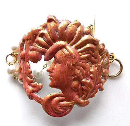 Bold Chunky Art Nouveau Goddess Cuff Style Faux Pearl Lady Woman Artisan Bracelet Bold Faux Pearl