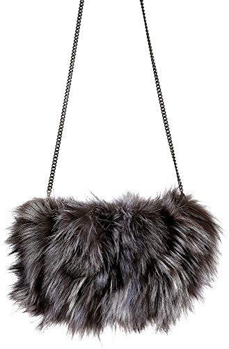 Fox Fur Muff Clutch Handbag, SILVER, Size 1 Size by Overland Sheepskin Co