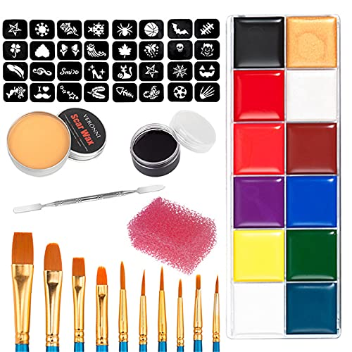 Halloween Makeup Kits,Professional Special Effects Makeup Set with Wound Modeling Scar Wax, 12 Colors Face Body Paint Oil, 10 Pieces Brushes, Spatula Tool, Red Stipple Sponge, Coagulated Blood