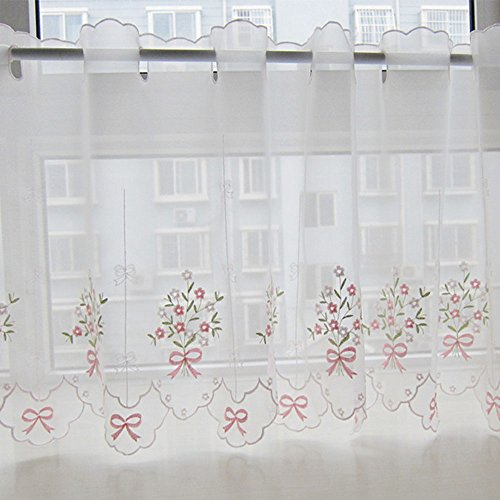 zhh pastoral style floral embroidered cafe curtain lace sheer window valance 17 by 57inch pink bowknot pattern on white