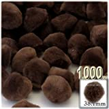 The Crafts Outlet 1,000-Piece Multi purpose Pom Poms, Acrylic, 38mm/about 1.5-inch, round, Coffee Brown