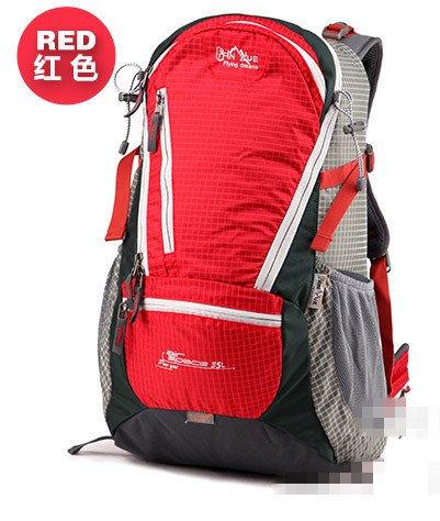 Montañismo bolso al aire libre hombres y mujeres hombro mochila gran capacidad senderismo paquete bolsas de montañismo 35L, azul rojo