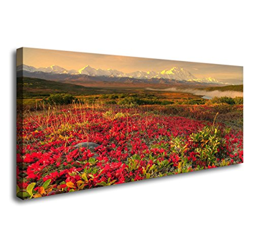 youkuart Canvas Wall Art - Field with Grass, Violet Flowers and Red Poppies Against - Modern Home Decor Stretched and Framed Ready to - Framed Poppies Canvas