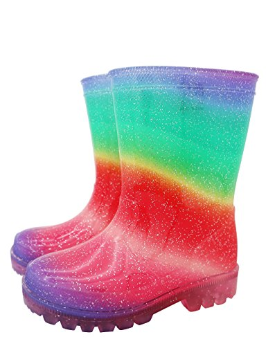 TQ Homebase Girls Rain Boots in Rainbow Pattern with Light up and Fully Waterproof at Sizes for Toddlers and Kids 10 M by TQ Homebase (Image #1)
