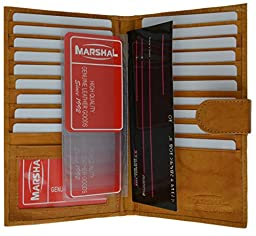 Marshal Genuine Leather Bi-fold Card Holder #1629CF (Tan)