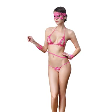 d1d04f706666f Amazon.com  SVAKOM Women Lingerie Sexy Lace Bra G-String Lace Mask and  Bracelet Set-4 Pieces (Rose Red)  Clothing