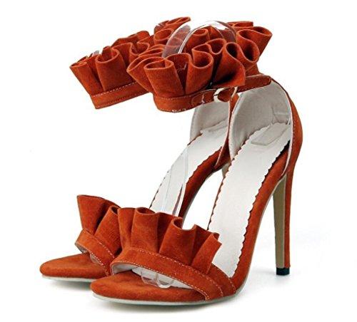 Cm Loto Hoja 42 Sandalias Mujer Xie terciopelo 38 compras 36 elegancia Pu De borde 10 Brown Brown 34 Fiesta vqR6Rnw