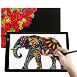 A4 Ultra-Thin Portable LED Light Box Tracer USB Power Cable Dimmable Brightness Artcraft Tracing Light Pad Light Box Art Supplies Arts and Crafts for Girls Boys Kids Gift Set Tracing Light Black