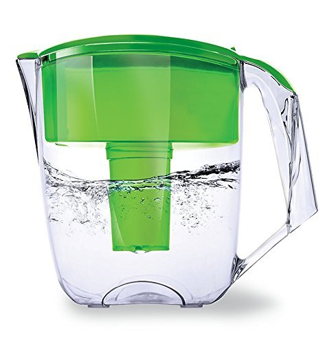 Ecosoft 10 Cup Capacity Water Filter Pitcher Jug w/ 1 Free Filter Cartridge, Green