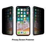 Mothca iPhone X Screen Protector Privacy [2 PACK] [Case Friendly] Anti-Spy Tempered Glass Film No Problem with Brightness 3D Touch 9H Hardness Anti-Scratch Easy Application Bubble Free for iPhone X/10
