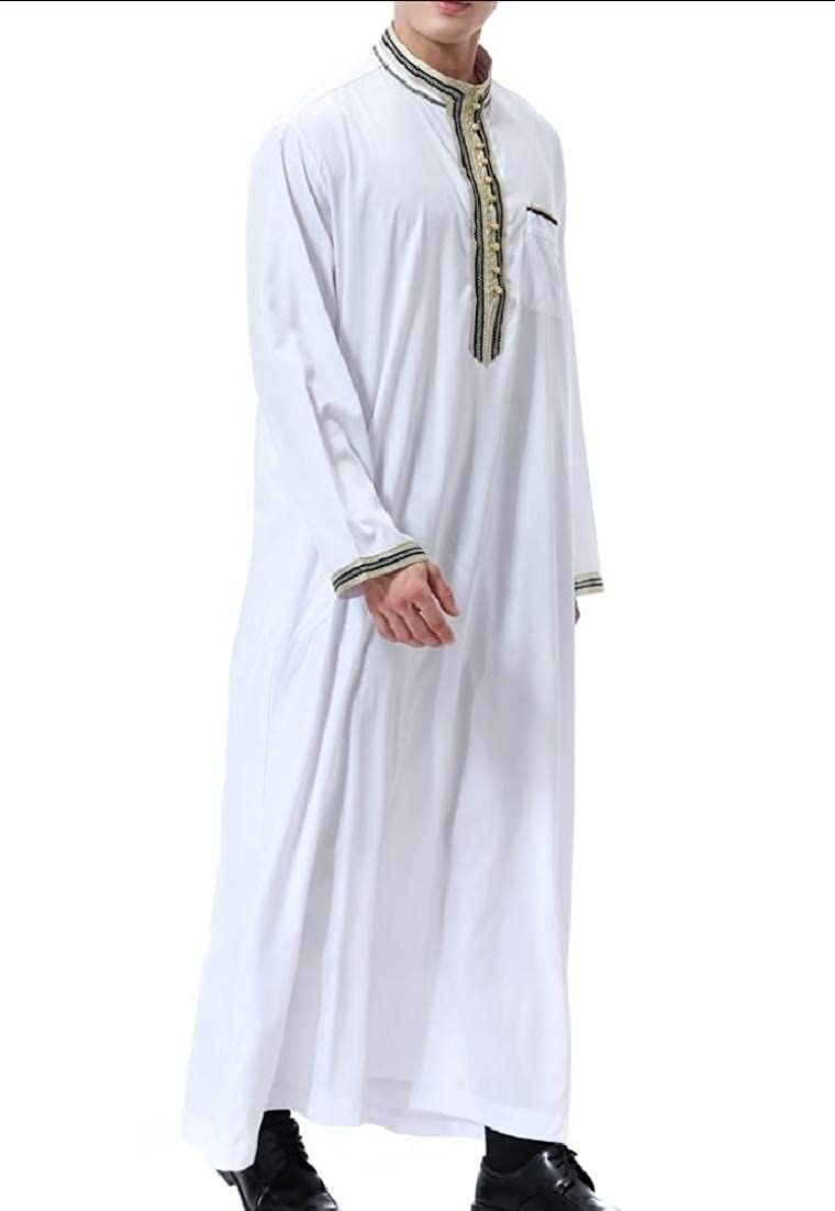 Andopa Mens Islamic Print Muslim Stand up Collar Blouses and Tops Shirts