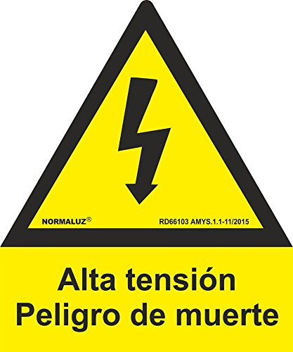 Se/ñal Alta Tensi/ón Peligro De Muerte Rayo Pent/ágono Aluminio 0,5 mm 21 cm Normaluz RD66103