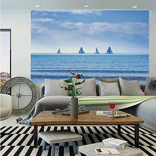 SoSung Nautical Wall Mural,Racing Yachts on Ocean Water Regatta Race Panoramic Distant View Relax Win Photo,Self-Adhesive Large Wallpaper for Home Decor 55x78 inches,Light Blue