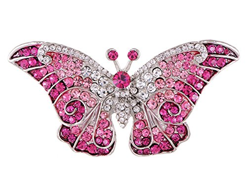 Empress Monarch Winged Butterfly Swarovski Crystal Rhinestones Brooch Pin - Pink
