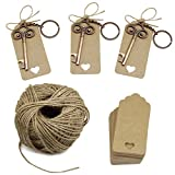 Wedding Favors Key Bottle Opener with Escort Tag Card, Twine and Key Rings, Vantage Style 50 Sets