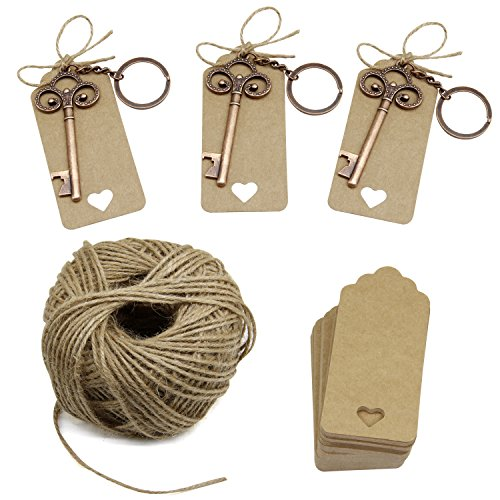 Wedding Favors Key Bottle Opener with Escort Tag Card, Twine and Key Rings, Vantage Style 50 Sets For Sale