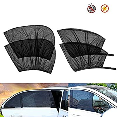 Diagtree Car Window Shade - (4 Pack) Cling Car Window Shades for Baby, 80 GSM Car Sun Shade Protect Your Baby in The Back Seat from Sun Glare UV Rays (A): Automotive