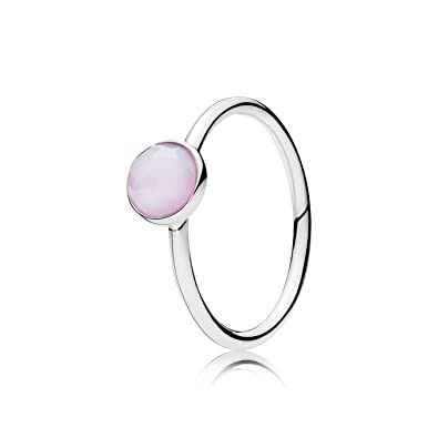 a93b2a7b8 Image Unavailable. Image not available for. Color: Pandora October Droplet  Ring, Opalescent Pink ...