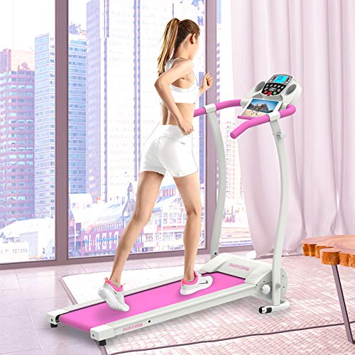 Murtisol Electric Pink Treadmill Folding Running Treadmill Machine for Home with Bluetooth APP, Easy Assably for Home Fitness